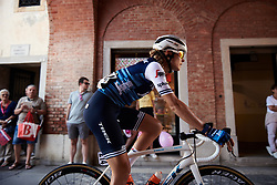Tayler Wiles (USA)  makes her way to the start line before Stage 10 of 2019 Giro Rosa Iccrea, a 120 km road race from San Vito al Tagliamento to Udine, Italy on July 14, 2019. Photo by Sean Robinson/velofocus.com