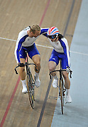 Beijing, CHINA.   Cycling, . Laosham Velodrome, 19.08.2008.  left,   Chris HOY, and team mate Jason KENNEY embrace after HOY beat KENNEY in the final to take the Olympic gold medal, in the  Men's Sprints Finals, [Mandatory Credit: Peter SPURRIER, Intersport Images