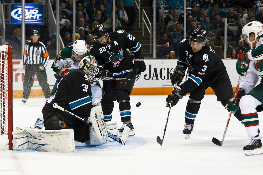 March 17, 2011; San Jose, CA, USA;  San Jose Sharks goalie Antti Niemi (31) saves a shot against the Minnesota Wild during the second period at HP Pavilion. Mandatory Credit: Jason O. Watson / US PRESSWIRE