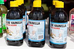 Bottles of vanilla (vainilla) on store shelf in Mexico.