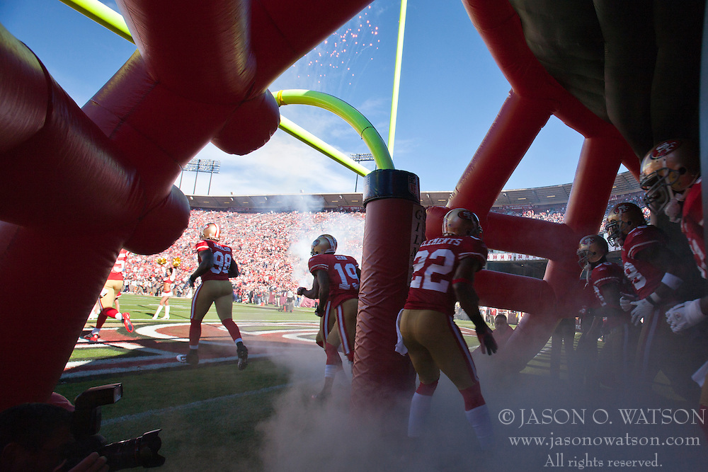 November 14, 2010; San Francisco, CA, USA;  San Francisco 49ers cornerback Nate Clements (22) enters the field before the game against the St. Louis Rams at Candlestick Park. San Francisco defeated St. Louis 23-20 in overtime.