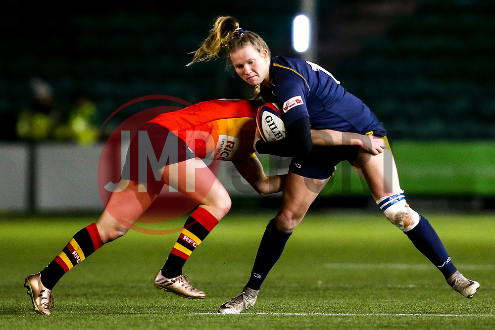 Carys Cox of Worcester Warriors Women is tackled - Mandatory by-line: Robbie Stephenson/JMP - 11/01/2020 - RUGBY - Sixways Stadium - Worcester, England - Worcester Warriors Women v Richmond Women - Tyrrells Premier 15s