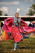 Crow Fair Powwow, Fancy Shawl dancer, Crow Indian Reservation, Montana
