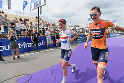 Lizzie Deignan & Kasia Pawłowska run down the sign in stage at Grand Prix de Plouay Lorient Agglomération a 121.5 km road race in Plouay, France on August 26, 2017. (Photo by Sean Robinson/Velofocus)