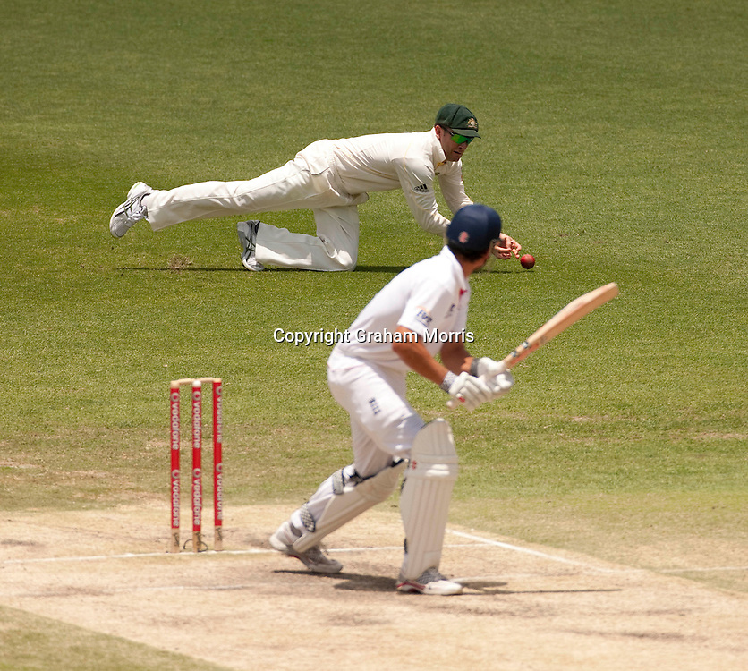 Vice-captain Michael Clarke not having a good day during the first Ashes Test Match between Australia and England at the Gabba, Brisbane. Photo: Graham Morris (Tel: +44(0)20 8969 4192 Email: sales@cricketpix.com) 29/11/10