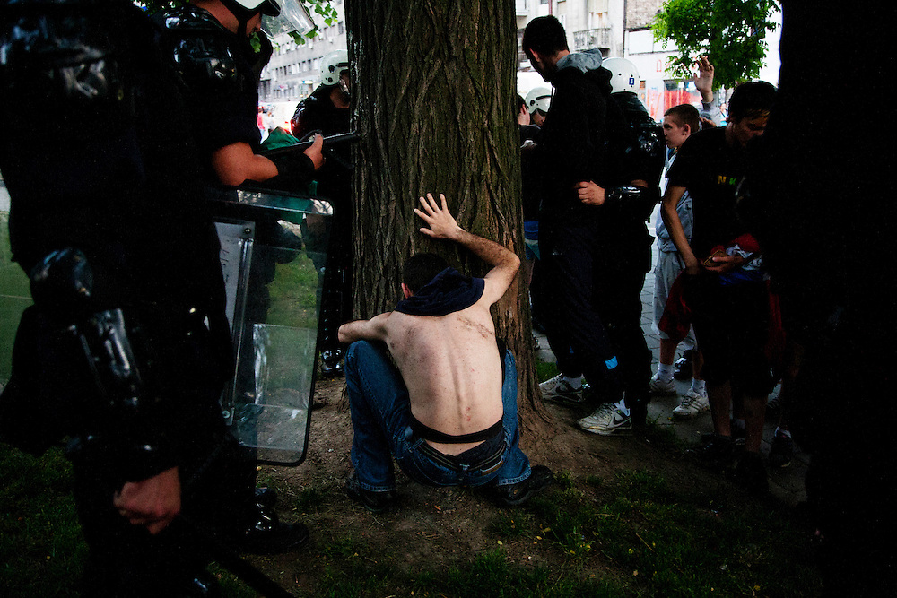 A young man is arrested by police in a park in central Belgrade following a confrontation hours after indicted war criminal Ratko Mladic was captured in Serbia. May 2011.
