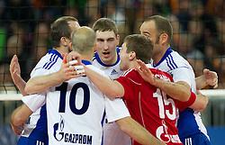Players of Zenit celebrate during volleyball match between ACH Volley (SLO) and Zenit Kazan (RUS) in Playoffs 12 Round of 2011 CEV Champions League, on February 2, 2011 in Arena Stozice, Ljubljana, Slovenia. Zenit defeated ACH Volley 3-0. (Photo By Vid Ponikvar / Sportida.com)