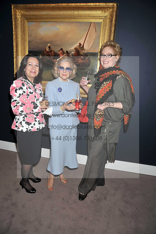 Left to right, ELENI SCONDRA, the MARCHIONESS OF LONDONDERRY and JAN TAYLOR at a party to celebrate the publication of Elena Makri Liberis's book 'Every Month, Same day' held at Sotheby's, 34-35 New Bond Street, London on 5th May 2009.