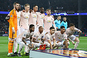 Manchester united line up during the Champions League Round of 16 2nd leg match between Paris Saint-Germain and Manchester United at Parc des Princes, Paris, France on 6 March 2019.