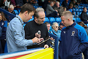 AFC Wimbledon media team during the EFL Sky Bet League 1 match between AFC Wimbledon and Rochdale at the Cherry Red Records Stadium, Kingston, England on 5 October 2019.