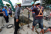 KAOHSIUNG, CHINA - AUGUST 04: (CHINA OUT) <br /> <br /> Gas Explosion Rips up entire road in china<br /> <br /> Rescue workers search for clues over the causes of Kaohsiung\'s gas explosion on August 4, 2014 in Kaohsiung, Taiwam of China. Part of the pipeline was found wornout after 4 days of investigations. <br /> ©Exclusivepix