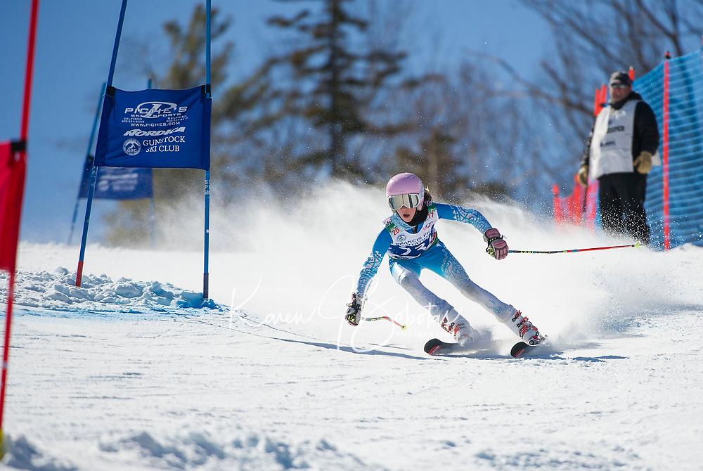 Francis Piche Invitational U14 ladies second run with Gunstock Ski Club.  <br /> &copy;2017 Karen Bobotas Photographer