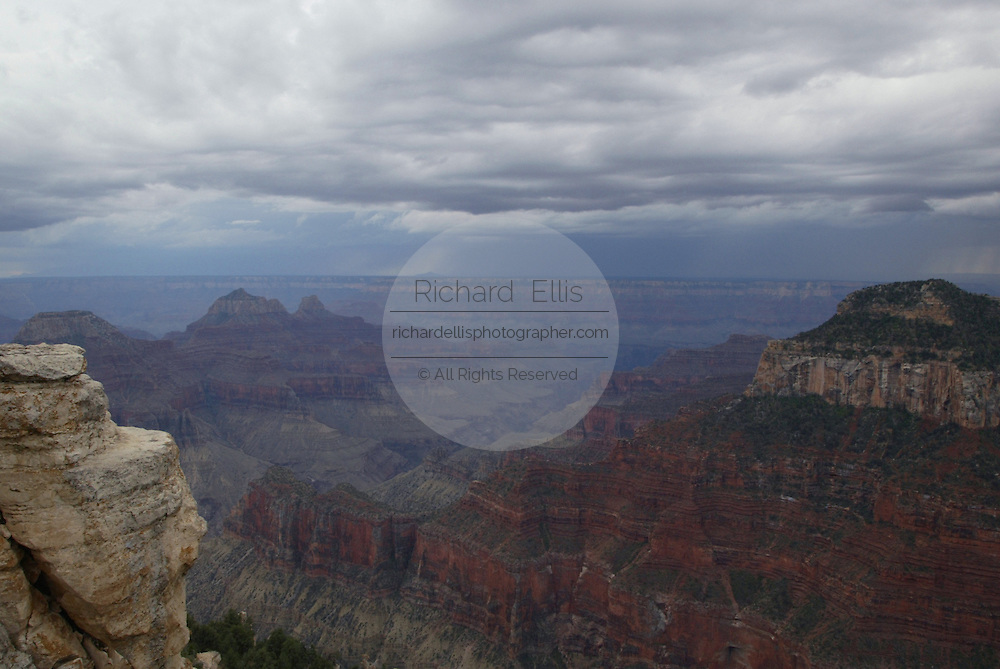 View of the north rim of the Grand Canyon from Bright Angel Point, Grand Canyon National Park, Arizona, USA.