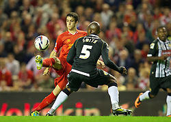 27.08.2013, Anfield, Liverpool, ENG, League Cup, FC Liverpool vs Notts County FC, 2. Runde, im Bild Liverpool's Luis Alberto in action against Notts County during the English League Cup 2nd round match between Liverpool FC and Notts County FC, at Anfield, Liverpool, Great Britain on 2013/08/27. EXPA Pictures © 2013, PhotoCredit: EXPA/ Propagandaphoto/ David Rawcliffe<br /> <br /> ***** ATTENTION - OUT OF ENG, GBR, UK *****
