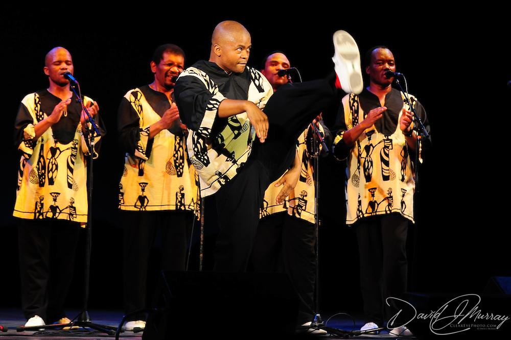 Ladysmith Black Mambazo member Sibongiseni Shabalala high kicking at The Music Hall, Portsmouth, NH
