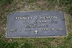 31 August 2017:   Veterans graves in Park Hill Cemetery in eastern McLean County.<br /> <br /> Stanley C Henson  Private US Army World War II  Aug 5 1911  Feb 28 1991