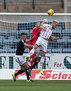 August 5th 2017, Dens Park, Dundee, Scotland; Scottish Premiership; Dundee versus Ross County; Dundee goalkeeper Scott Bain punches the ball off the head of Ross County's Andrew Davies