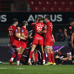 Wandile Mjekevu of Toulouse celebrates with his teammates after scoring a try during the European Challenge Cup match between Toulouse and Lyon on December 7, 2017 in Toulouse, France. (Photo by Manuel Blondeau/Icon Sport)