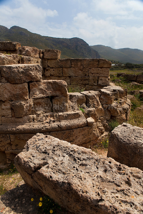 Remains of a tower at ancient Falassarna, Crete