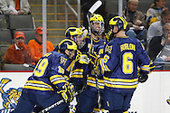 November 21, 2009:  Michigna players celebrate Michigan wing Carl Hagelin (12) goal during the NCCA hockey game between Michigan and the Bowling Green State University at Lucas County Arena in Toledo, Ohio.