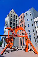 """Lao Tzu"" sculpture by Mark di Suvero (Denver Art Museum), Acoma Plaza with the Denver Central Library in back, Civic Center Cultural Complex, Denver, Colorado USA"
