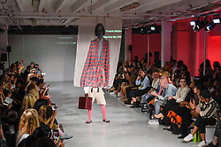 © Licensed to London News Pictures. 13/09/2019. LONDON, UK.  A model presents a look by Fredrik Moller of Swedish School of Textiles during Fashion Scout SS20, an off schedule show at Victoria House in Bloomsbury Square, on the opening day of London Fashion Week.  Photo credit: Stephen Chung/LNP