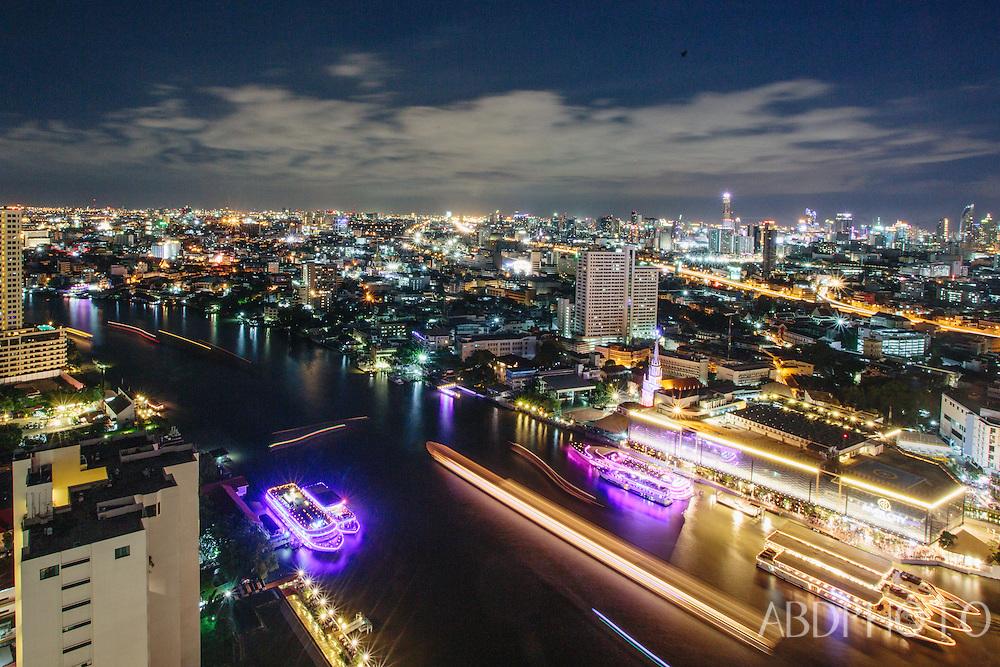 chao praya river, bangkok, thailand, cityscape, night, boats, long exposure