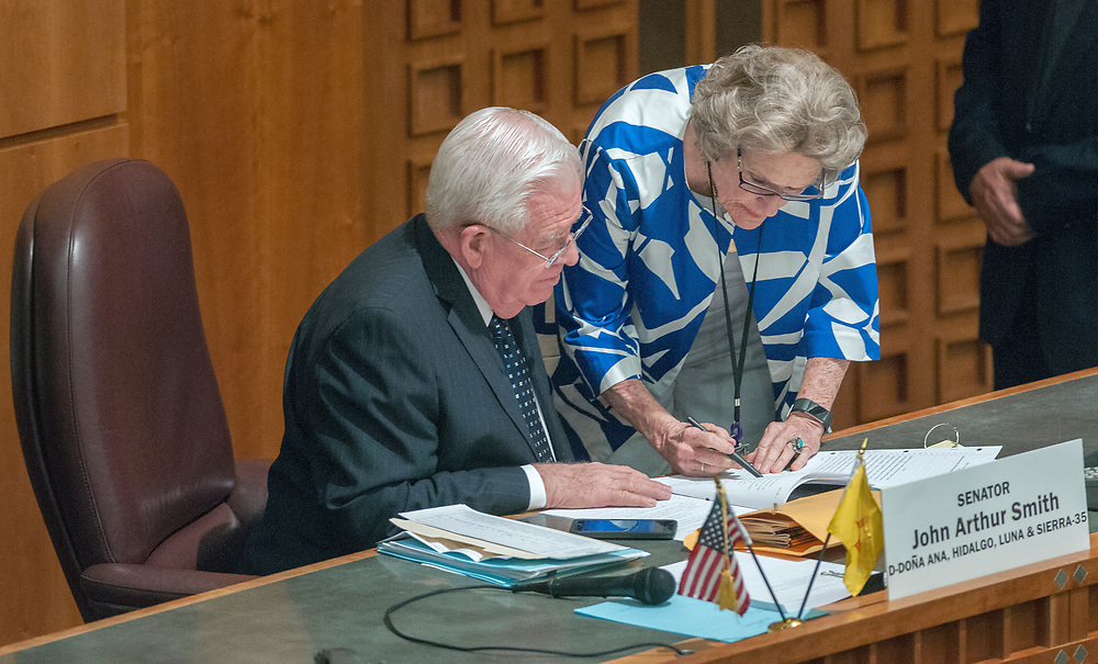 em052417n/a/Sen. John Arthur Smith, D-Deming, and Senate President Pro Temp Mary Kay Papen, D-Las Cruces, talk on the Senate Floor during the special legislative session in Santa Fe, Wednesday May 24, 2017. (Eddie Moore/Albuquerque Journal