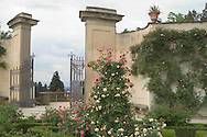 Gates and rose garden in the Boboli Garden<br /> Tuscany, Florence, Italy
