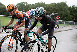 Amy Pieters (NED) of Boels-Dolmans Cycling Team and Leah Thomas (USA) of Bigla Pro Cycling Team climb on the final ascent of Stage 4 of 2019 OVO Women's Tour, a 158.9 km road race from Warwick to Burton Dassett, United Kingdom on June 13, 2019. Photo by Balint Hamvas/velofocus.com