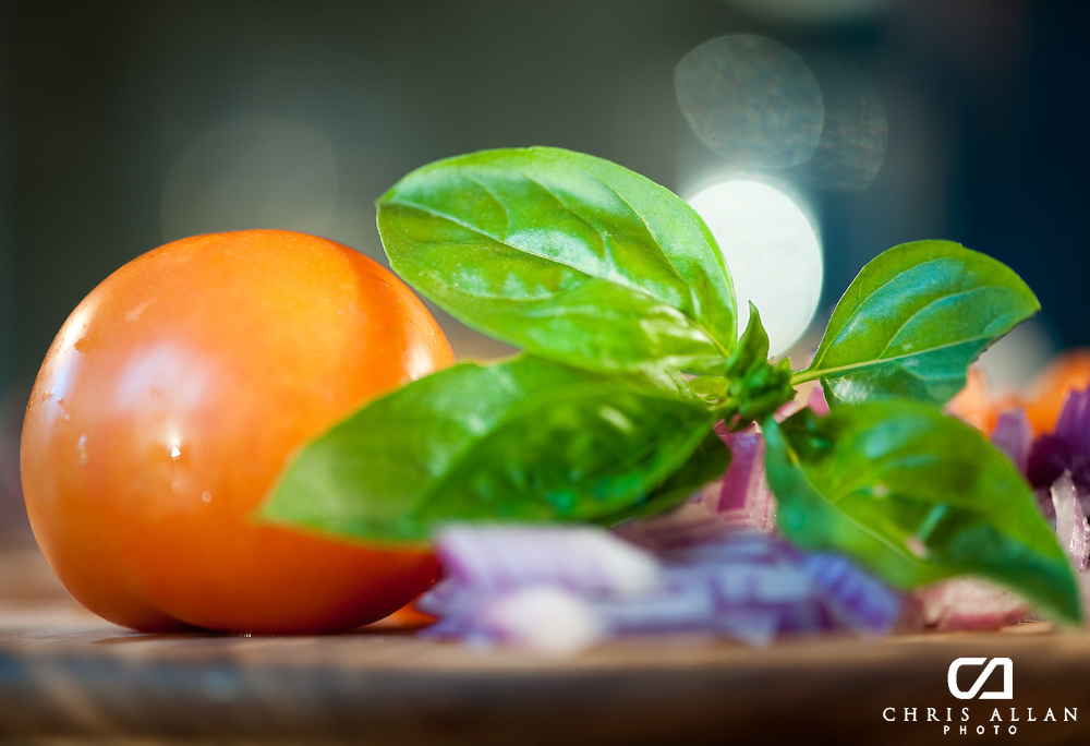 Basil and Tomato awaiting their culinary fate.