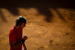 May 3, 2018 - Estoril, Portugal - Stefanos Tsitsipas from Greece celebrates the victory during the Millennium Estoril Open tennis tournament in Estoril, outskirts of Lisbon, Portugal on May 1, 2018  (Credit Image: © Carlos Costa/NurPhoto via ZUMA Press)