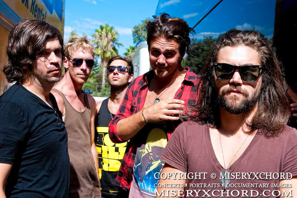 Portrait session with After Midnight Project after their performance at KROQ's Epicenter '09: Presented By Rogue at the Fairplex on August 22, 2009 in Pomona, California. Pictured from left: Dan Morris, TJ Armstrong, Spencer Bastian, Jason Evigan, Christian Meadows.