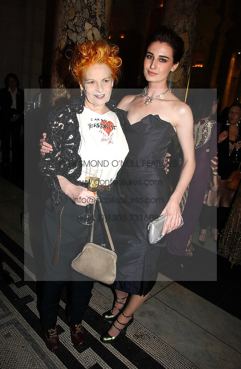 Left to right, VIVIENNE WESTWOOD and ERIN O'CONNOR at the British Fashion Awards 2006 sponsored by Swarovski held at the V&A Museum, Cromwell Road, London SW7 on 2nd November 2006.<br />