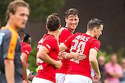 UITGEEST - 09-07-2016, AZ - FC Volendam, Complex FC Uitgeest, AZ speler Wout Weghorst (m) heeft het eerste doelpunt voor AZ gescoord, AZ speler Stijn Wuytens (l), AZ speler Mats Seuntjens (r), 1-0.