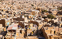 A view looking out over the city of Jaisalmer, Rajasthan, India.