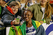 Danielle Williams (Jamaica), winner of the Women's 100m Hurdles taking a selfie with a fan during the IAAF Diamond League event at the King Baudouin Stadium, Brussels, Belgium on 6 September 2019.