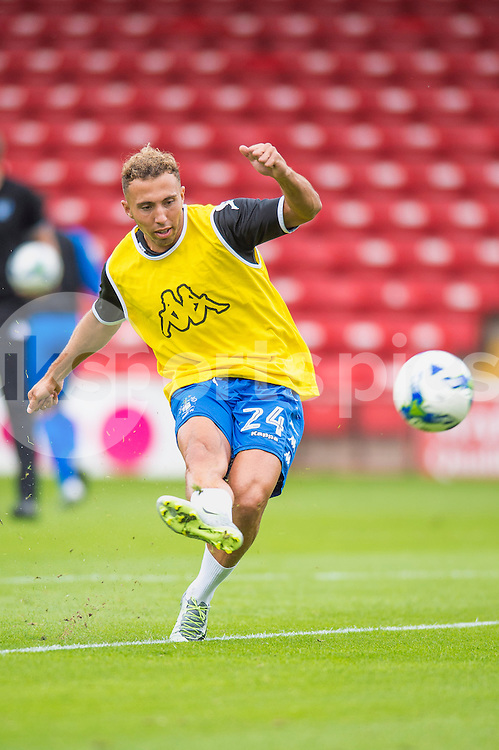Hallam Hope of Bury warms up ahead of the EFL Sky Bet League 1 match between Walsall and Bury at the Banks's Stadium, Walsall, England on 27 August 2016. Photo by Darren Musgrove.