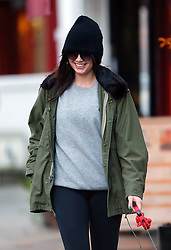 Model Daisy Lowe wearing a black beanie hat, big sunglasses, Parker jacket, grey top, black leggings and boots out walking her dog in north London, UK. 14/11/2014<br />BYLINE MUST READ : JAMESY/GOTCHA IMAGES<br /><br />Copyright by © Gotcha Images Ltd. All rights reserved.<br />Usage of this image is conditional upon the acceptance <br />of Gotcha Images Ltd, terms and conditions available at<br />www.gotchaimages.com