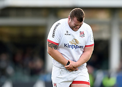 Jack McGrath of Ulster clutches his wrist after suffering an injury - Mandatory byline: Patrick Khachfe/JMP - 07966 386802 - 16/11/2019 - RUGBY UNION - The Recreation Ground - Bath, England - Bath Rugby v Ulster Rugby - Heineken Champions Cup