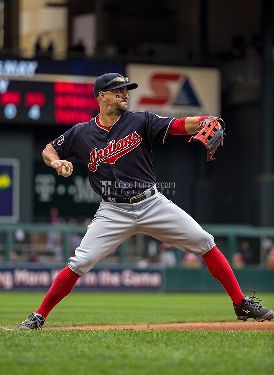 MINNEAPOLIS, MN- APRIL 19: Lonnie Chisenhall #8 of the Cleveland Indians throws against the Minnesota Twins on April 19, 2015 at Target Field in Minneapolis, Minnesota. The Twins defeated the Indians 7-2. (Photo by Brace Hemmelgarn) *** Local Caption *** Lonnie Chisenhall