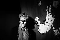 """NAPOLI, 23 APRILE 2016:  Ritratto di Silver, pseudonimo di Guido Silvestri, autore del personaggio """"Lupo Alberto"""", alla XVIII edizione di Comicon, il salone internazionale del fumetto a Napoli, il 23 aprile 2016.<br /> <br /> ###<br /> <br /> NAPLES, ITALY - 23 APRIL 2016: Silver, pseudonym of Guido Silvestri, author of the series """"Lupo Alberto"""", poses for a portrait at the XVIII edition of Comicon, the international comics fair in Naples, Italy, on April 23rd 2016."""