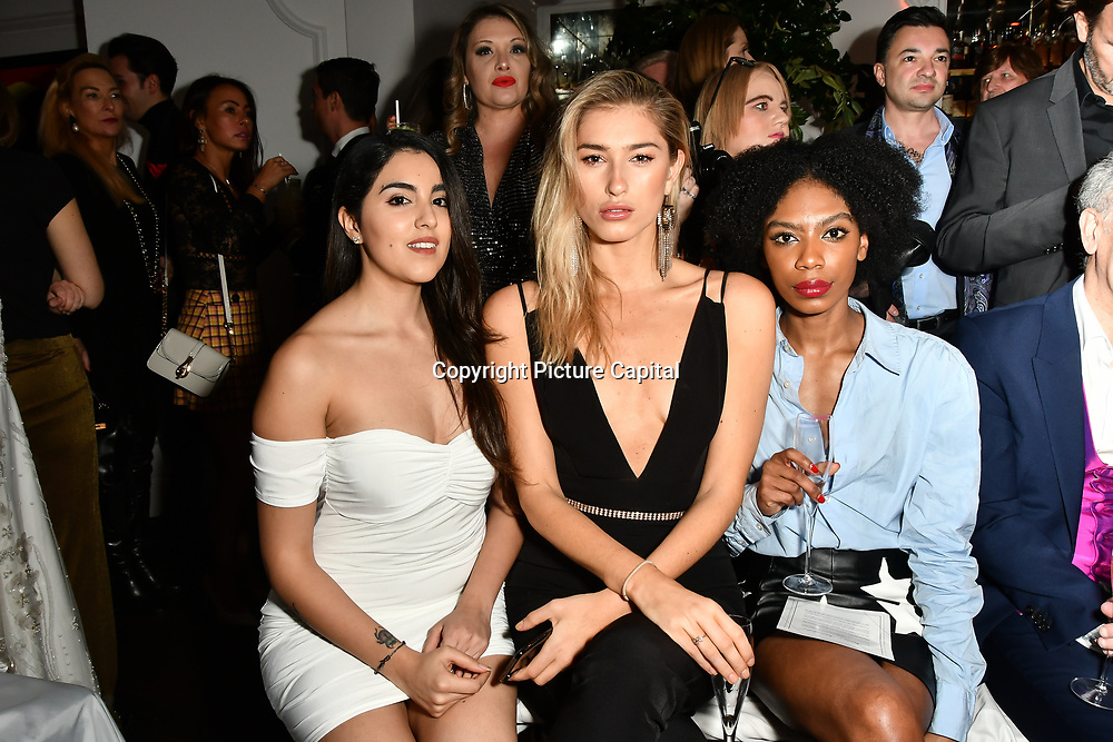 Claudia Sowaha,Lilly Douse,Tonique  Campbell attend Nina Naustdal catwalk show SS19/20 collection by The London School of Beauty & Make-up at Bagatelle on 26 Feb 2019, London, UK.