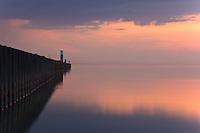 Long exposure shot of Lake Michigan, North Pier in South Haven, Michigan