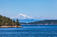Mount Baker as seen from the Washington State ferry running between Orcas Island and Anacortes, Washington, USA.