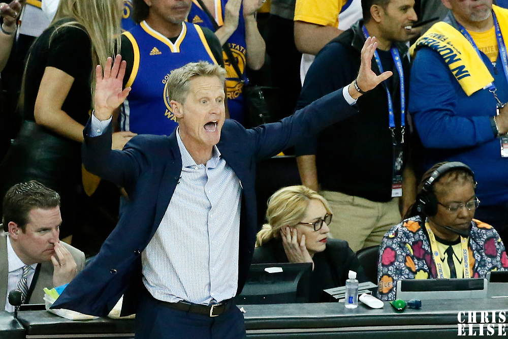 12 June 2017: Golden State Warriors head coach Steve Kerr is seen during the Golden State Warriors 129-120 victory over the Cleveland Cavaliers, in game 5 of the 2017 NBA Finals, at the Oracle Arena, Oakland, California, USA.
