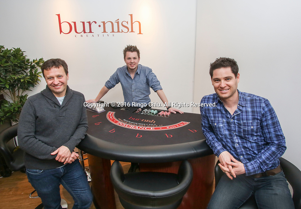 From L to R, Ed Servaites, Ben Delamont and Oren Castro, co-founders of Burnish Creative at their firm&rsquo;s new office on the Miracle Mile.<br /> (Photo by Ringo Chiu/PHOTOFORMULA.com)<br /> <br /> Usage Notes: This content is intended for editorial use only. For other uses, additional clearances may be required.