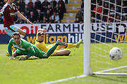 Leeds United goalkeeper, Marco Silvestri (1) watches as Burnley midfielder Scott Arfield (37) scores a goal and celebrates to make the score 1-0 during the Sky Bet Championship match between Burnley and Leeds United at Turf Moor, Burnley, England on 9 April 2016. Photo by Simon Davies.
