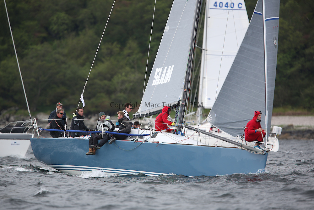 The Silvers Marine Scottish Series 2014, organised by the  Clyde Cruising Club,  celebrates it's 40th anniversary.<br /> Day 2, GBR7737R, Aurora, Rod Stuart / A Ram, CCC, Corby 37<br /> Racing on Loch Fyne from 23rd-26th May 2014<br /> <br /> Credit : Marc Turner / PFM