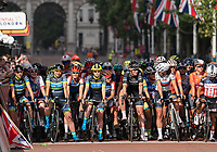 Team Tibco &ndash; Silicon Valley Bank smile at the start line on The Mall ahead of The Prudential RideLondon Classique. Saturday 28th July 2018<br /> <br /> Photo: Bob Martin for Prudential RideLondon<br /> <br /> Prudential RideLondon is the world's greatest festival of cycling, involving 100,000+ cyclists - from Olympic champions to a free family fun ride - riding in events over closed roads in London and Surrey over the weekend of 28th and 29th July 2018<br /> <br /> See www.PrudentialRideLondon.co.uk for more.<br /> <br /> For further information: media@londonmarathonevents.co.uk